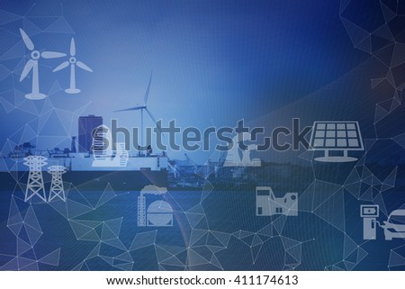 Industrial area on the coast, smart energy, smart grid, abstract image visual - stock photo