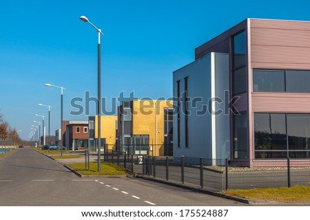 Industrial Area with Small Businesses - stock photo