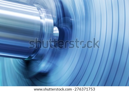 Industrial background. Drilling, boring machine at work. Industry, motion blur. - stock photo
