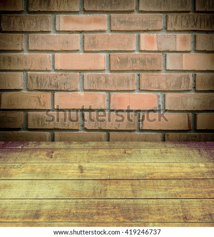 Industrial background, empty grunge urban street with warehouse brick wall - stock photo