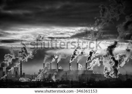 Industrial background. From pipe factory smoke, polluting the atmosphere. HDR image - stock photo