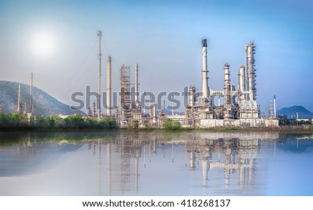 Industrial background of Oil and Gas refinery plant with blue sky, Oil-refinery, Industrial-plant under blue sky, Petrochemical plant. - stock photo