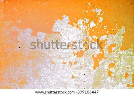 Industrial background of peeling orange paint and rusty old metal surface    - stock photo