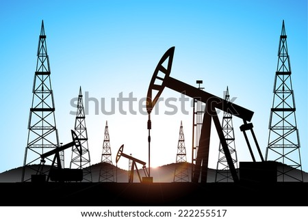 industrial background oil production - stock photo