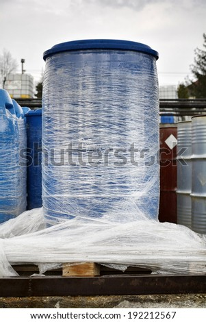 Industrial barrel in outdoor with rain - stock photo