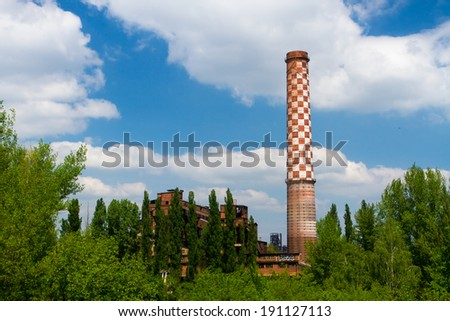Industrial blast furnace in the nature - stock photo