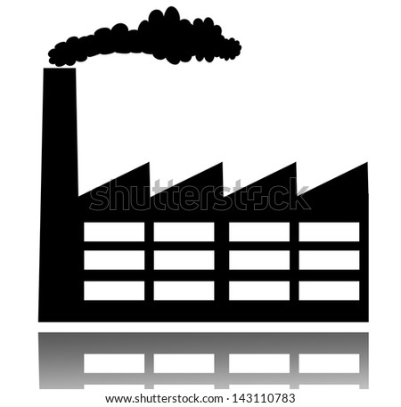 Industrial building factory and power plants icon - stock photo
