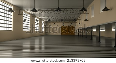 Industrial building from the inside, 3d render - stock photo