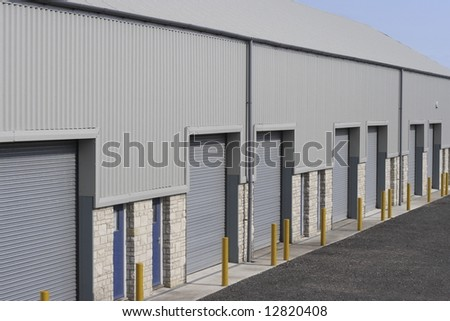 Industrial building unit or warehouse. - stock photo