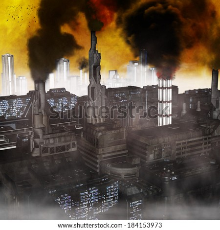 Industrial City, 3D render of a polluted future belching smoke into a yellow sky - stock photo