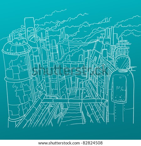 industrial City of the Future - stock photo