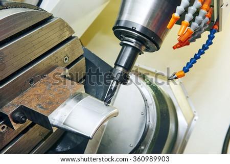 industrial cnc metalwork detail machining  - stock photo