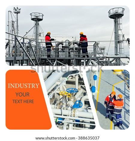 Industrial concept. Oil And Gas Industry. Work on the gas tanker safety monitor. Production - stock photo