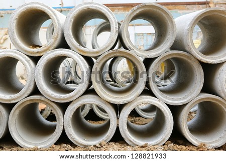 Industrial concrete pipe for building construction - stock photo