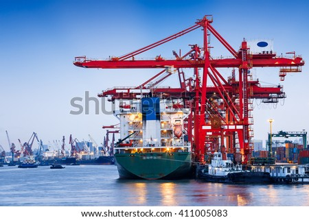 Industrial container freight Trade Port scene at night - stock photo