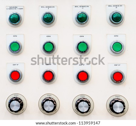 Industrial control panel installation button - stock photo