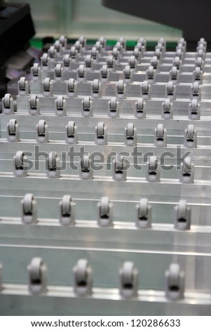 Industrial conveyor belt. Conveyer factory track. Factory assembly line. - stock photo
