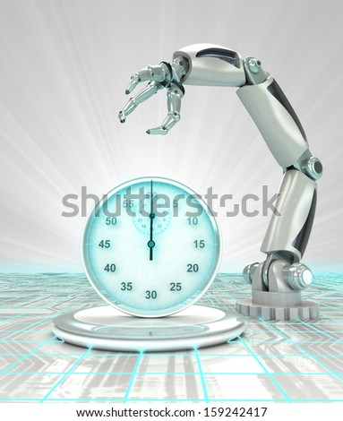 industrial cybernetic robotic hand creation in time render illustration - stock photo