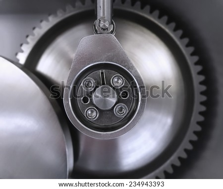 Industrial detail of stainless steel engineering components  - stock photo