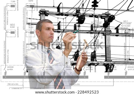 Industrial engineering designing power line - stock photo