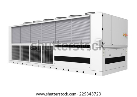 Industrial free-cooling chiller isolated on white background - stock photo