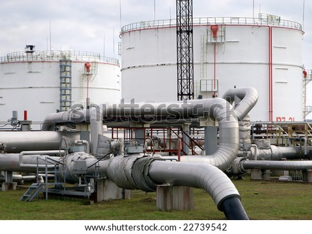 Industrial Fuel Storage at oil refinery - stock photo