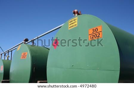 Industrial fuel storage tanks - stock photo