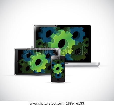 industrial gears technology electronics illustration design over a white background - stock photo