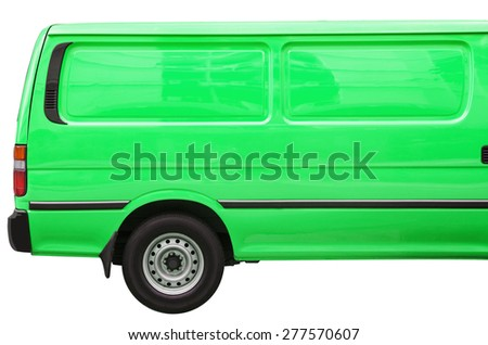 Industrial green van on a white background, room for text ,logo or copy space - stock photo