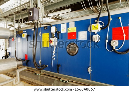 Industrial installation for converting solar energy into electrical energy - stock photo