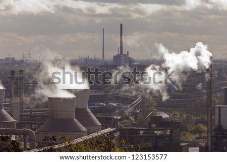 Industrial landscape of steel works industry in Duisburg, Ruhr area, Germany, Europe - stock photo