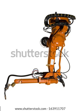 Industrial machine part on white background - stock photo