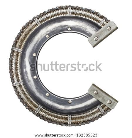 Industrial metal alphabet letter C - stock photo
