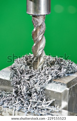 industrial metal machining cutting process of blank detail by rapidsteel milling cutter  - stock photo