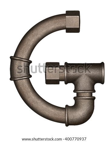 Industrial metal pipe alphabet letter G - stock photo