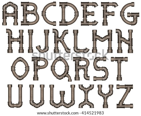 Industrial metal pipe alphabet letters - stock photo