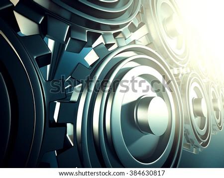 Industrial metallic working cogwheel gears background. 3d render illustration - stock photo