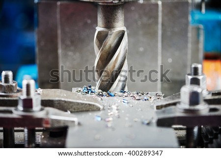 industrial metalworking cutting process by milling cutter  - stock photo