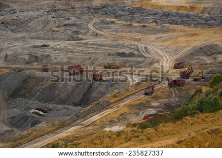 Industrial mining machine in the mine closeup - stock photo