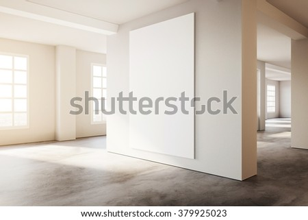 Industrial modern loft style interior with white poster mockup. 3d rendering - stock photo