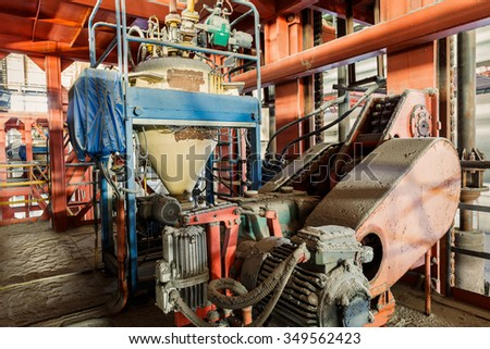 Industrial motor driven equipment scene in steel mill - stock photo