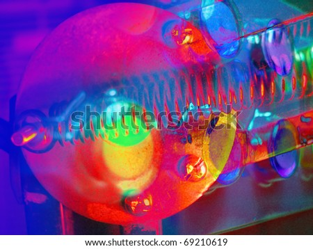 Industrial part collage in false color - stock photo