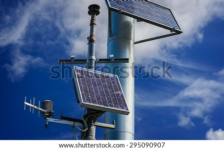 Industrial photovoltaic installation of solar panel and renewable energy - stock photo
