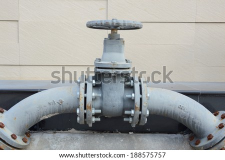 industrial pipe line valve connection - stock photo