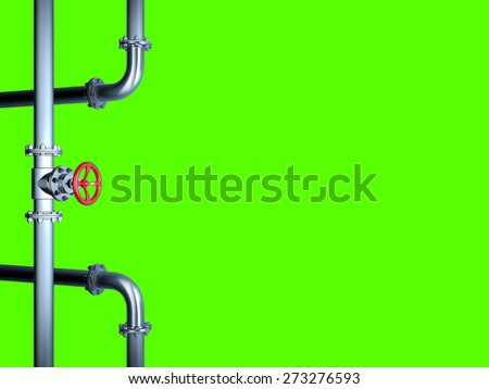 Industrial Pipe Valve isolated on Green - stock photo