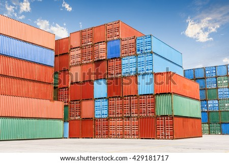 Industrial port and container yard - stock photo