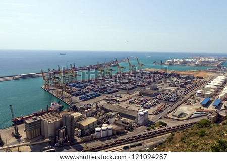 Industrial Port of Barcelona from Montjuic Mountain. - stock photo