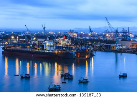 industrial port with containers in Thailand - stock photo