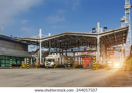 industrial port with containers,the gate - stock photo