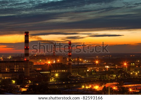 industrial power plant night landscape with lights - stock photo